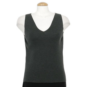 Green Washable Wool Crepe Knit V-Neck Tank Top S